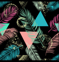 abstract seamless pattern with palm leaf vector image