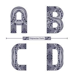 Alphabet polynesian style in a set abcd vector