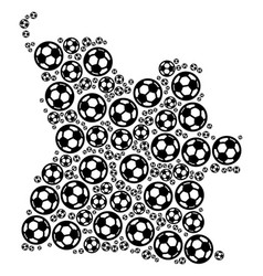 Angola map collage of football balls vector