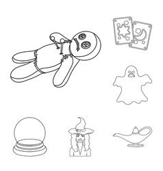 Black and white magic outline icons in set vector