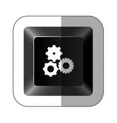 black button gear icon vector image
