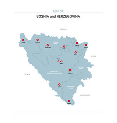 bosnia and herzegovina map with red pin vector image