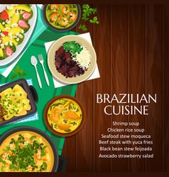 brazilian cuisine poster meals brazil vector image