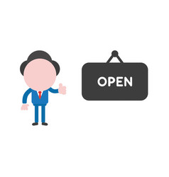 Businessman character giving thumbs and with open vector