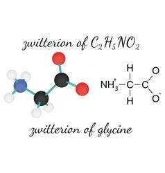 C2H5NO2 zwitterion of glycine amino acid molecule vector image