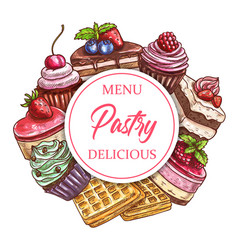 Cafeteria pastry sweets and patisserie desserts vector