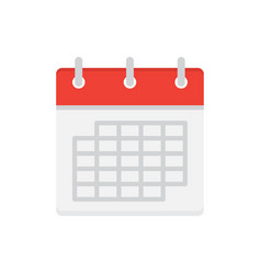 calendar flat icon isolated on white background vector image