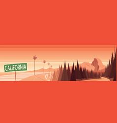 California nature landmarks and landscape scene vector