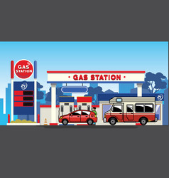car refueling in gas station vector image