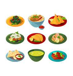 Cartoon set of traditional indian food in vector