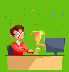 cartoon worker gamer won online competition vector image