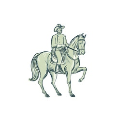 Cavalry Officer Riding Horse Etching vector image