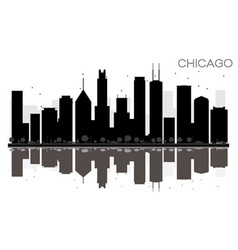 Chicago city skyline black and white silhouette vector