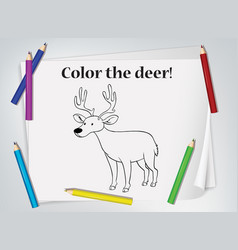 children deer coloring worksheet vector image