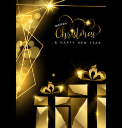 christmas and new year 3d gold gift box card vector image