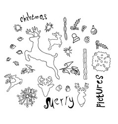 christmas doodles coloring childrens drawings vector image