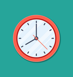 clock icon in flat style timer isolated on green vector image
