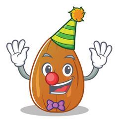 Clown almond nut character cartoon vector