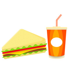 colorful cartoon sandwich juise fast food set vector image