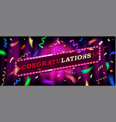 congratulations background with falling confetti vector image