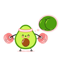 Cute funny avocado make squat gym with barbell vector