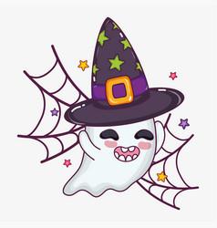 Cute ghost halloween cartoon vector