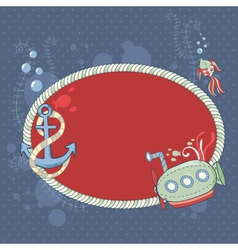 Cute nautical summer sea card vector image