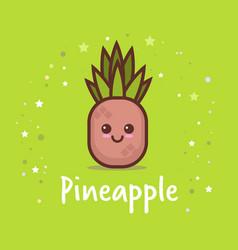 cute pineapple cartoon comic character vector image