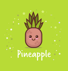 cute pineapple cartoon comic character with vector image
