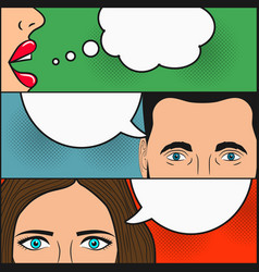 dialogue two girls and man with speech bubbles vector image