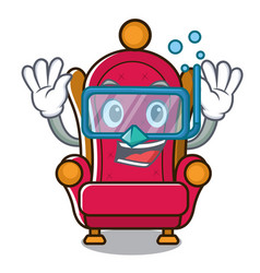 Diving king throne character cartoon vector