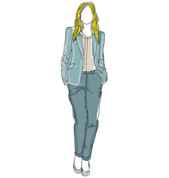 drawn businesswoman woman vector image