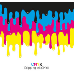 dripping ink cmyk stain liquid ink vector image