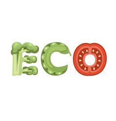 Eco style cartoon vegetable design flat vector