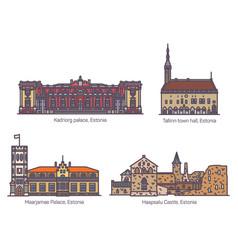 estonia building landmarks castle or palace set vector image