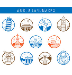 Famous world landmarks travel and tourism concept vector
