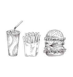fast food set hand drawn monochrome sketch vector image