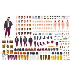 Fat guy constructor set or diy kit bundle flat vector