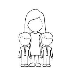 Figure woman her boys twins icon vector