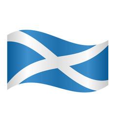 flag of scotland waving on white background vector image