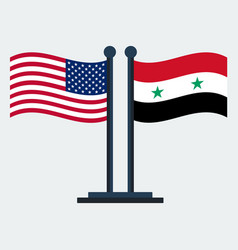 Flag of united states and syriaflag stand vector