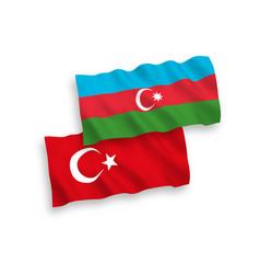 Flags turkey and azerbaijan on a white vector