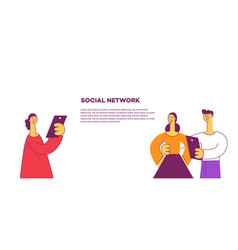 flat social communication concept and young girl vector image