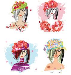 flower hats vector image