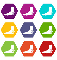 foot heel icon set color hexahedron vector image