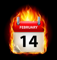 Fourteenth february in calendar burning icon on vector