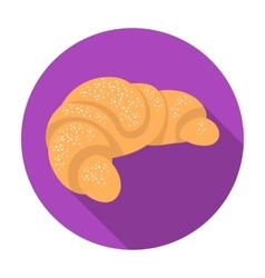 French croissant icon in flat style isolated on vector