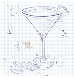 French Martini cocktail on a notebook page vector
