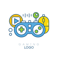 Gaming logo template gamepad play button vector