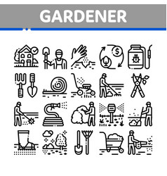 Gardener instrument collection icons set vector